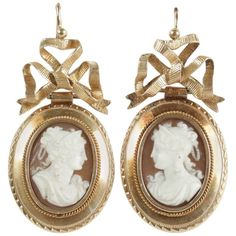 19th Century French Gold Cameo Drop Earrings. 18k yellow gold shell drop earrings. French work. Circa 1870.