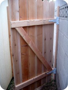 DIY Gate Tutorial-Next cut a diagonal brace for the back of the gate and attach ., DIY, DIY Gate Tutorial-Next cut a diagonal brace for the back of the gate and attach each gate slat to the brace. This will add strength to the gate. Diy Gate, Diy Fence, Backyard Projects, Outdoor Projects, Garden Projects, Building A Gate, Backyard Gates, Wooden Gates, Wood Fence Gates