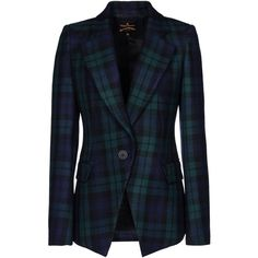 VIVIENNE WESTWOOD ANGLOMANIA Blazer (1.735 BRL) ❤ liked on Polyvore featuring outerwear, jackets, blazers, blazer, blue checkered blazer, blazer jacket, single button blazer, lapel jacket and vivienne westwood anglomania