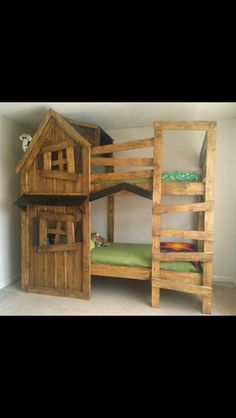 Clubhouse bunk bed-Using the boys' current ikea bed frame, and using pallet wood to make it look like a clubhouse similar to this.