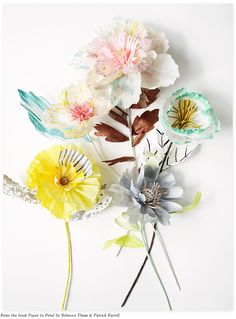 From new book Paper to Petal: 75 whimsical paper flowers to craft by hand, written by Rebecca Thuss and Patrick Farrell. Via @Ez Pudewa