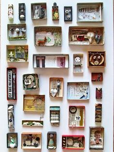 Maybe could be inspiration for Me in a box. All about me diorama mano's welt: kunstschachteln 339 - 345 Art Boxes Diy And Crafts, Arts And Crafts, Paper Crafts, Wal Art, Matchbox Art, Assemblage Art, Little Boxes, Art Plastique, Art Education