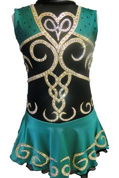www.sk8gr8designs.com Emerald green, gold and black Irish figure skating dress by Sk8 Gr8 Designs