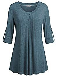 Women's Clothing, Tops & Tees, Blouses & Button-Down Shirts, Women's Scoop Neck Roll-Up Sleeve Tunics Pleated Casual Blouses Tops - Blue - Source by rosendycom outfits casual Xl Mode, Casual Outfits, Fashion Outfits, Womens Fashion, Latest Fashion, Fashion Trends, Roll Up Sleeves, Trendy Tops, Shirt Blouses
