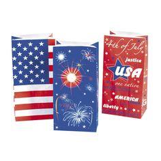 Patriotic Paper Gift Bags - Pkg of 12. $2.99 per pkg. http://www.partypalooza.com/Merchant2/merchant.mvc?Screen=PROD&Product_Code=PatrioticGiftBags