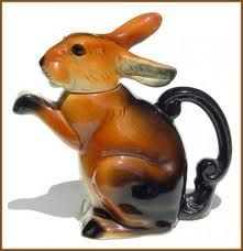 tea pot filled with bunny hopping.