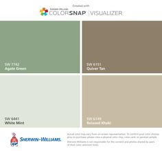I found these colors with ColorSnap® Visualizer for iPhone by Sherwin-Williams: Agate Green (SW 7742), White Mint (SW 6441), Quiver Tan (SW 6151), Relaxed Khaki (SW 6149).