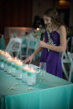 candle lighting piece for beach themed Bat Mitzvah Party - photo courtesy of Robin Smith