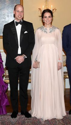 Kate Middleton's Maternity Style: February 1: Kate attends dinner at the Royal Palace in Oslo, Norway wearing a stunning custom pale pink Alexander McQueen gown.