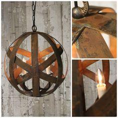 Bespoke Rustic Steel Sphere Pendant with rustic effect by Chantelle Lighting.