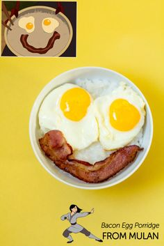 hahaha.. I wonder how this Mulan Bacon Egg Porridge taste like.... #disney #breakfast