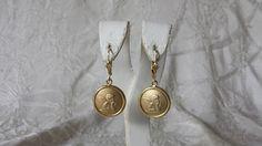 """14k Yellow Italian Gold Cherub Angel Pierced Dangle Earrings 1 3/8"""" Estate Find"""