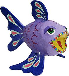 This simply delightful paper mache Puffer fish will add a whimsical touch to any decor!  Each collectible fish is hand-made and hand-painted in bold acrylic paint by artisan Roberto Garcia Camacho in his southern Yucatan home.  His festive paper mache masks and figures also make a wonderful gift.
