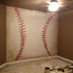 Baseball wall - awesome for a basement or sports room!