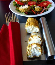 Cardamom and Pistachio Crusted Goat Cheese Salad Cardamom and pistachio are a great combination for this salad.  It is simple to make and takes less than 30 minutes  http://healingtomato.com/blog/2014/01/08/cardamom-and-pistachio-crusted-goat-cheese-salad/