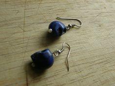 Indigo Skull Earrings by SavannahVoodoo on Etsy, $7.00