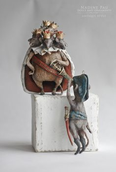 """(collection of """"The Nutcracker"""")  Mouse King and soldiers Mouse by Nadine Pau. Christmas ornaments. Papier mache, oil patina varnish. Sold #christmasornaments #nadinepau"""
