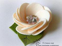 Мастер-класс: цветок из фетра   Ярмарка Мастеров - ручная работа, handmade   easy to make felt flower