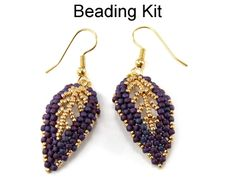 Gilded Leaf Earrings in Purple and Gold Beading Kit