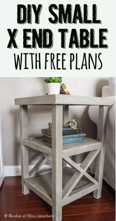 Makeover Monday: Small X End Table + Free Plans! Makeover Monday: Small X End Table + Free Pl Diy Furniture Plans, Woodworking Furniture, Furniture Makeover, Furniture Decor, Woodworking Plans, Woodworking Projects, Woodworking Videos, Woodworking Shop, Woodworking Classes