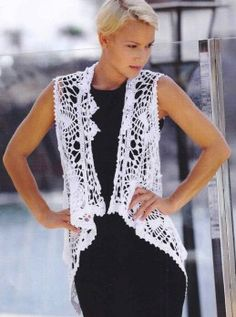 White crochet vest - written pattern at source