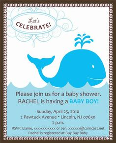 baby shower whale themes | WHALE THEME BABY SHOWER INVITATIONS