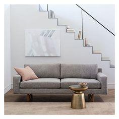 "West Elm Eddy 82"" Sofa, Deco Weave, Feather Gray ($899) ❤ liked on Polyvore featuring home, furniture, sofas, west elm, feather sofa, grey sofa, feather couch and grey couch"
