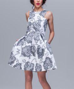 White & Blue Arabesque Sleeveless Dress