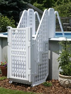 Above Ground Pool with gates | ... LARGE ABOVE GROUND KID SAFE SWIMMING POOL STEPS LADDER w/ GATE & LOCK