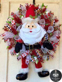 Christmas deco mesh Christmas wreath Santa