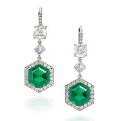 A pair of Colombian emerald and diamond pendent earrings