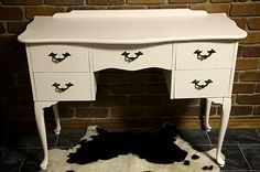 SHABBY CHIC FRENCH PROVINCIAL DRESSING TABLE, 5 DRAWERS, ANTIQUE WHITE REFURBISH