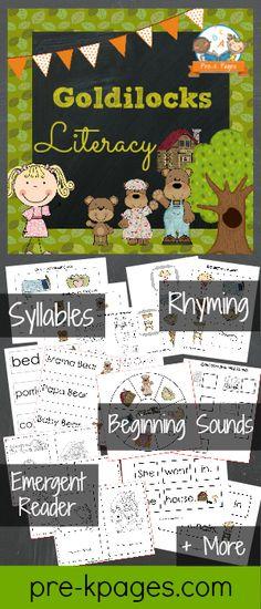 Goldilocks and the Three Bears Printable Math Activities for preschool and kindergarten. Bears Preschool, Preschool Books, Preschool Themes, Preschool Printables, Literacy Activities, Preschool Activities, Fairy Tales Unit, Fairy Tale Theme, Traditional Tales