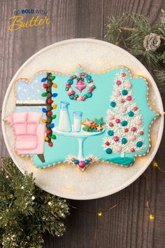 Prepare for an extra festive Christmas with this buttery design by SweetAmbs! Royal Icing Sugar, Pink Icing, Holiday Cookie Recipes, Holiday Cookies, Edible Luster Dust, Blue Food Coloring, Kinds Of Cookies, Cozy Christmas, Hanging Ornaments