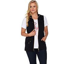 Quacker Factory Zip Front Vest and Short Sleeve T-shirt Set