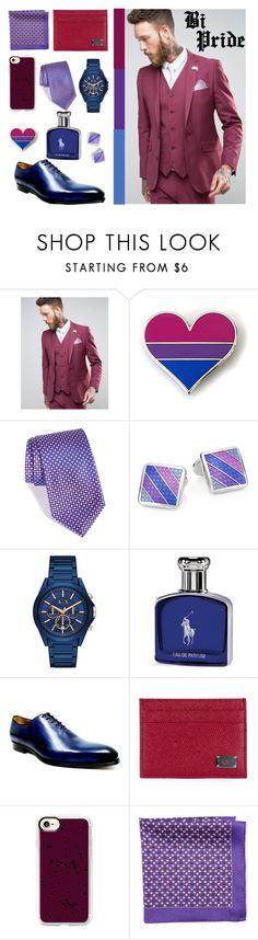"""Bi Pride"" by quript on Polyvore featuring Devil's Advocate, Nordstrom, DAVID DONAHUE, Armani Exchange, Ralph Lauren, Jose Real, Dolce&Gabbana, Casetify, Pierre Cardin and men's fashion"