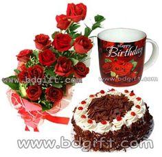 Send Red Roses With Black Forest Cake Birthday Mug To Bangladesh