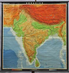 vintage map rollable wall chart india south asia