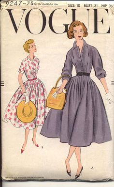 Vogue 1957© Gored skirt has released unpressed pleats and joins the bodice at the waist-line. Buttoned through front extension band below shaped collar. Three quarter length sleeves gathered to linked button French cuffs and short sleeves with extension band. Novelty belt.