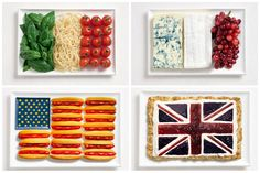 national flags made from each country's traditional foods