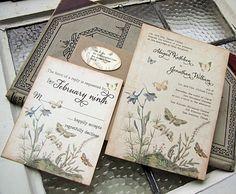 Vintage Wedding Invitation- Botanical Butterflies. Really like this etsy invitation.