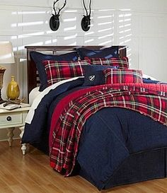 CREMIEUX Tartan COLLIN Red Plaid KING QUILT & PILLOW SHAMS SET - 100% Cotton #DanielCremieux