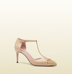 studded leather t-strap pump