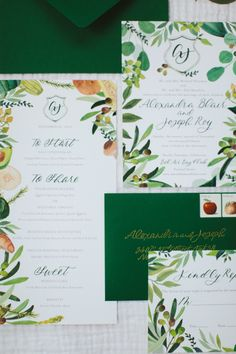 botanical wedding invitation suite with green and gold touches | Bel-Air Ballroom Wedding with Shades of Green