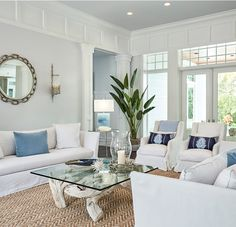 home design categories. chic coastal living room furniture and decoration. aweinspiring coastal living rooms to recreate carefree beach days Farmhouse Family Rooms, Modern Family Rooms, Modern Room, Modern Farmhouse, Beach House Furniture, Living Room Furniture, Small Cottage Interiors, Shabby Chic, Living Room Images
