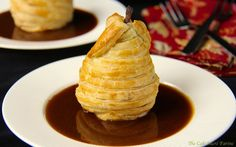 Cider-Poached Puff Pastry Pears with Caramel Sauce