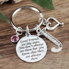 Good Friends Are Like Stars Friendship Keychain Keyring Car Keychain Pendant NEW