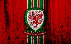 Download wallpapers Wales national football team, 4k, logo, grunge, Europe, football, stone texture, soccer, Wales, European national teams