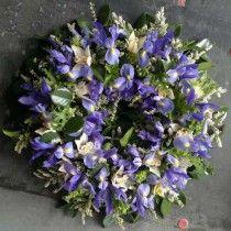 sympathy flower arrangement blue & purple  kellee | Sympathy Flower Arrangement - Big Basket of Colourful Blooms