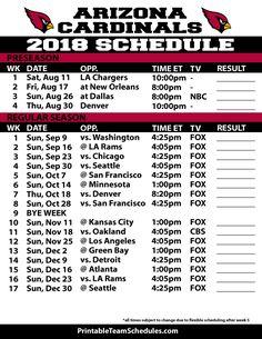 2018 Printable Los Angeles Rams Schedule La Rams